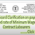 Minimum rates of wages for contract labourers: Railway Board clarification on payment of revised rates with arrears to contractor