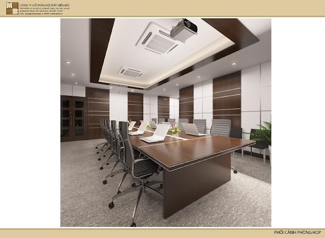 Chiếc bàn phòng họp cao cấp này thể hiện được uy quyền, sự bề thế cho không gian phòng họp