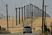 Under a proposal introduced in the California legislature, the state's electricity would come entirely from renewable sources, like this Oakland wind farm, by 2045. (Credit: Justin Sullivan/Getty Images) Click to Enlarge.