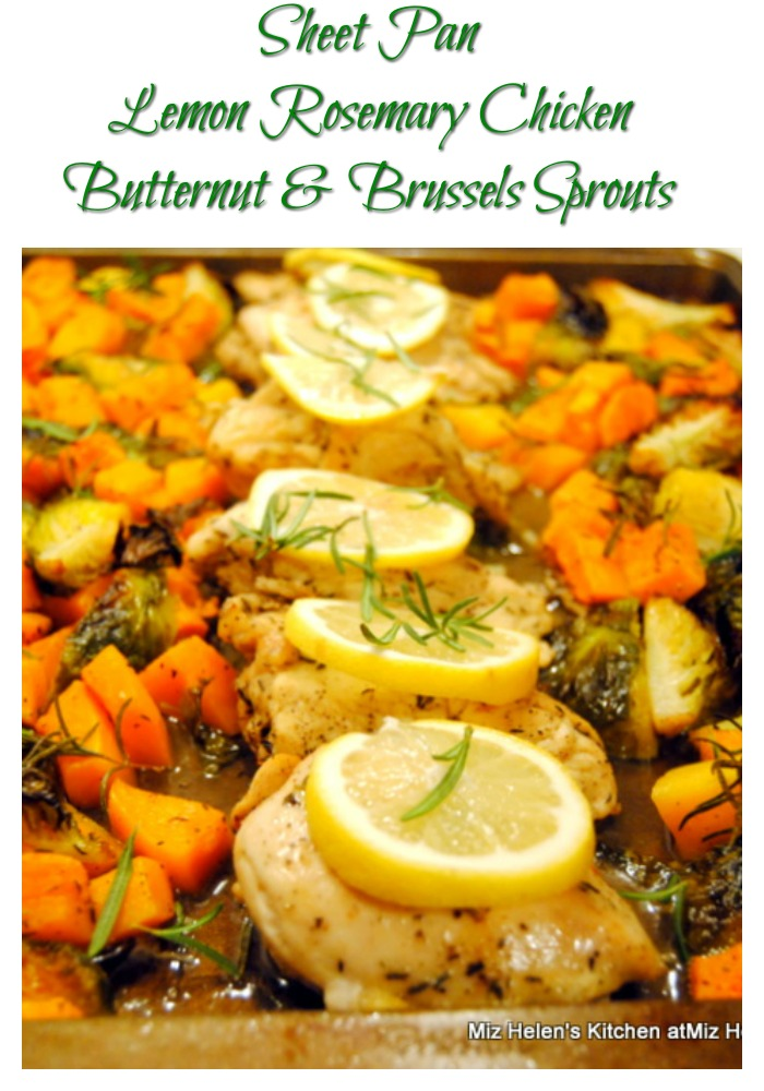Sheet Pan Lemon Rosemary Chicken with Butternut & Brussels Sprouts