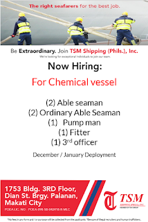 SEAMAN JOB INFO - Available jobs currently for hardworking and passionate Filipino seafarers work at oil tanker ships deployment December 2018 - January 2018.