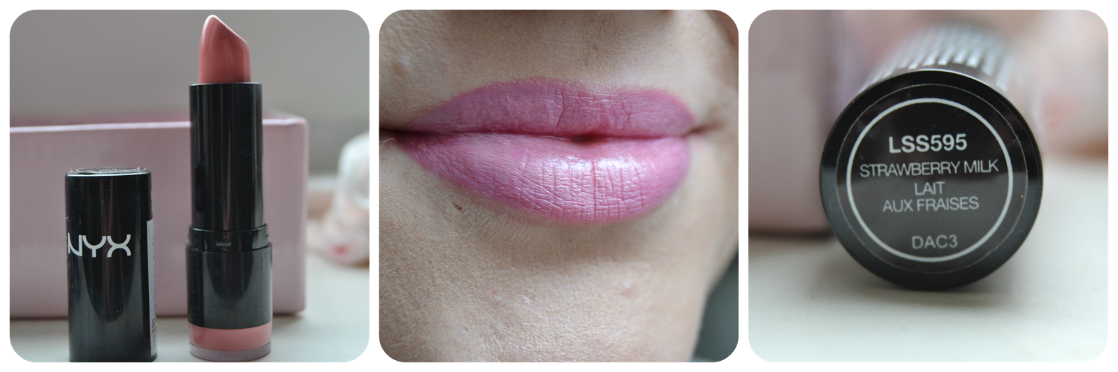 NYX Swatch Round Lipstick Lippenstift Strawberry Milk