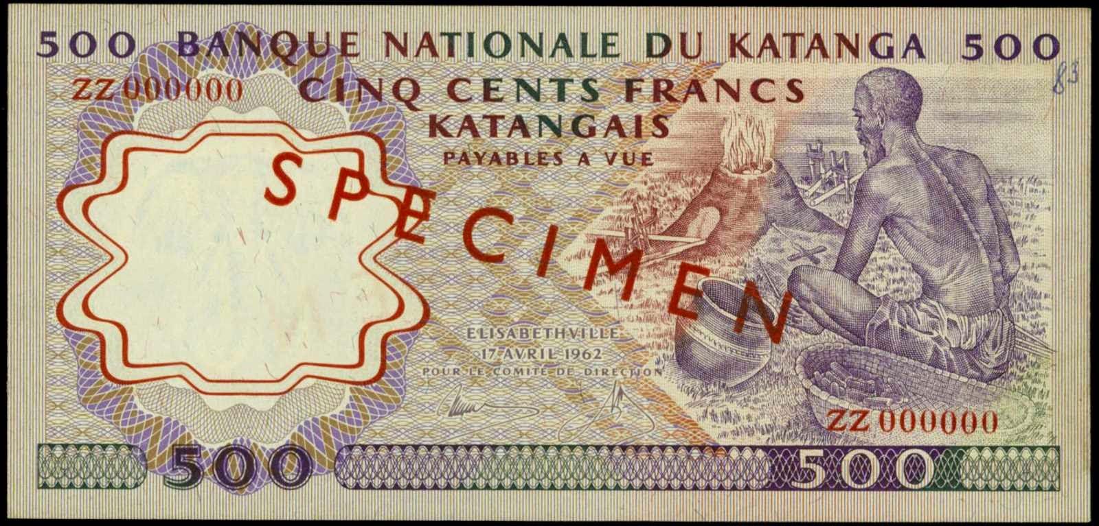 Katanga banknotes 500 Francs currency notes