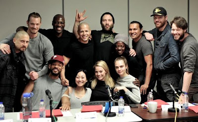Suicide Squad movie actors cast Margot Robbie Will Smith Viola Davis Jai Courtney with director David Ayer