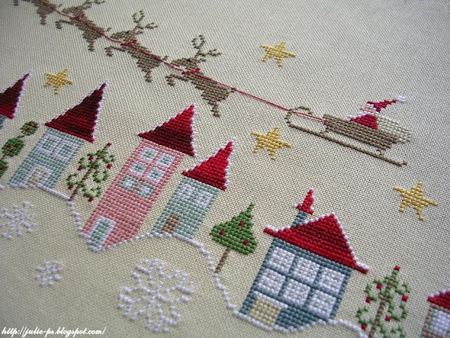 Madame Chantilly, En retard, Rossana Gallo, вышивка крестом, Père Noël, Рождество, Новый год