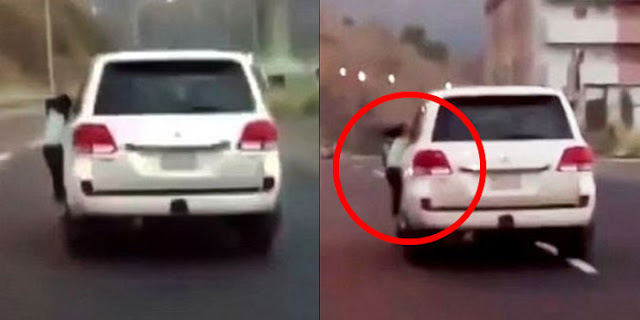 Sambil Ngebut, Pria Saudi Ini Suruh Anaknya Bergelantungan Di Mobil