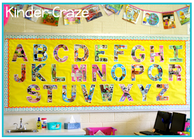 kindergarten alphabet collage wall