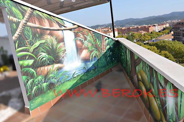 graffitis terraza selva cascada
