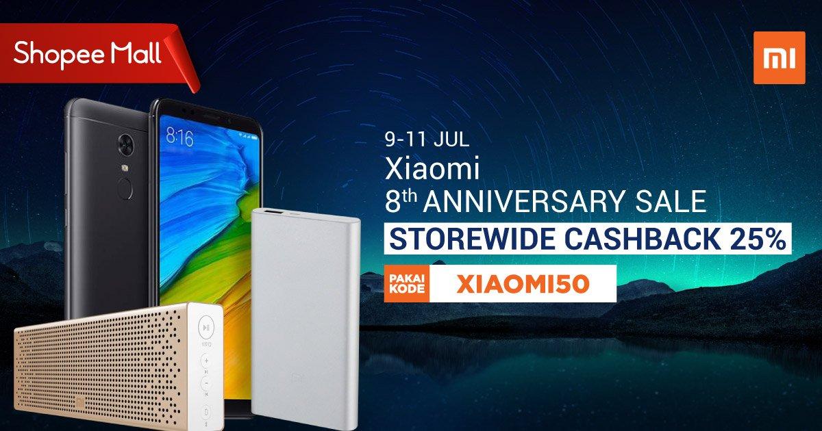 Shopee - Voucher Cashback 25% di Anniversary Sale Xiaomi ke 8 th