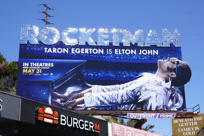 Rocketman movie glittering logo billboard