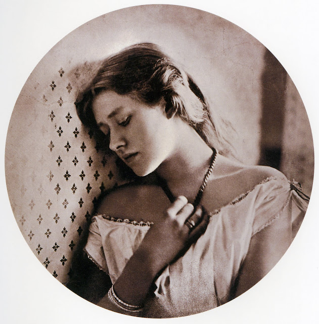"Entitled ""Sadness"", this photo shows the actress Ellen Terry at the age of 16. 1864. Carbon print, 242 x 240mm (9 1/2 x 9 1/2""). Royal Photographic Society. Scanned from Colin Ford's Julia Margaret Cameron: 19th Century Photographer of Genius. In Photos: Remembering Celebrity Photographer Julia Margaret Cameron, history of photography, vintage photos, photography news, photography"