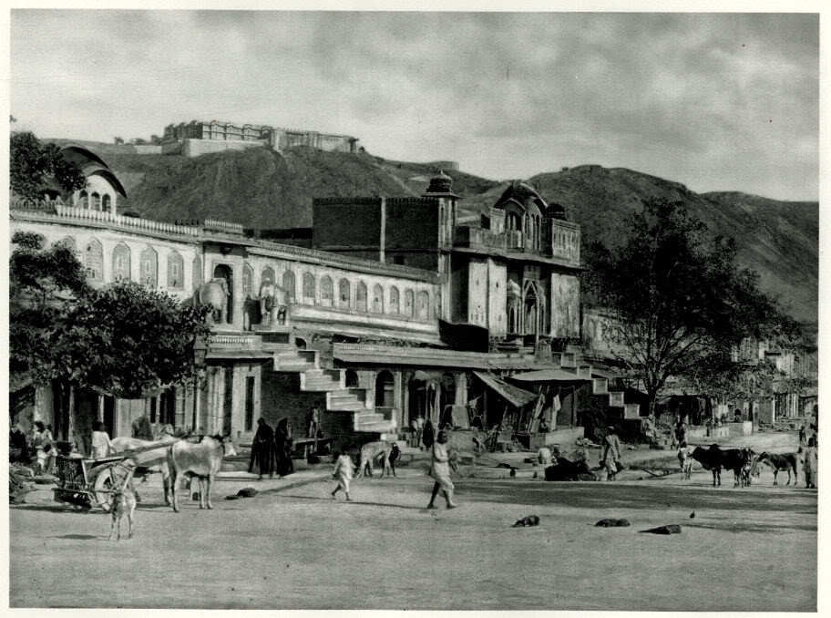 Street Scene and Temple Portico in Jaipur - India 1928