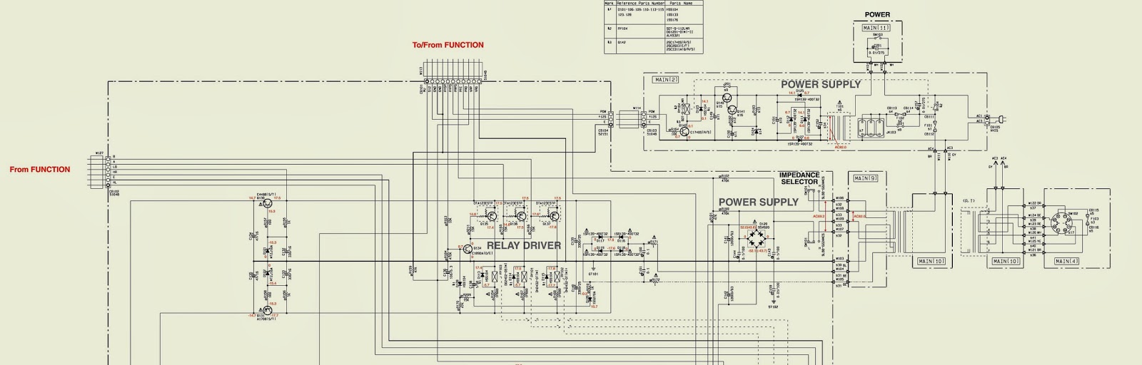 YAMAHA AX596  POWER & AMP  SCHEMATIC [Circuit Diagram]  STEREO AMPLIFIER | Electro help