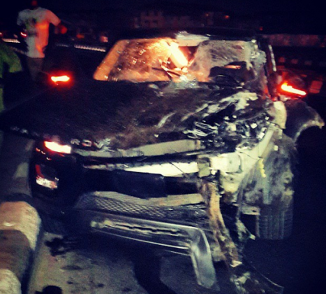 1 Armed robbers chased Oritsefemi's Range Rover SUV to crash