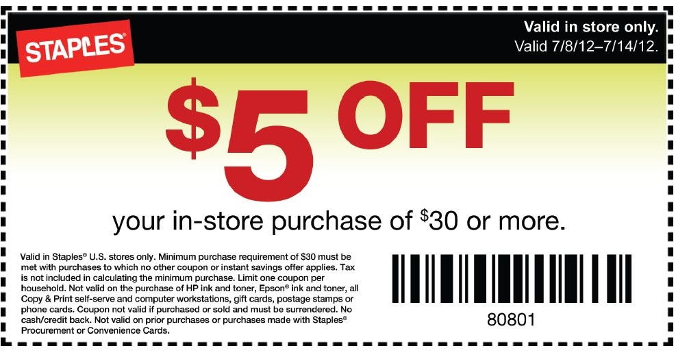 Staples 5 Dollar Off Coupon
