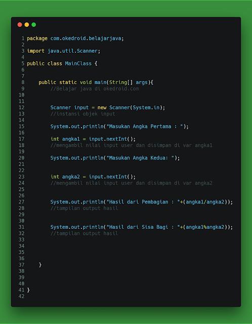 Contoh Code Pembagian dan Sisa Bagi Java