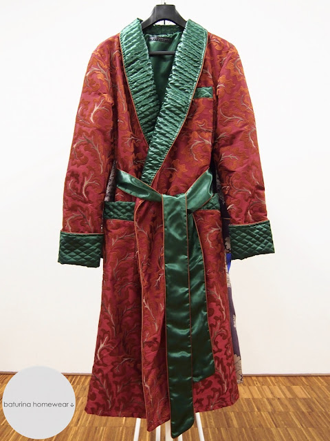 Men's paisley robe vintage dressing gown quilted embroidered silk