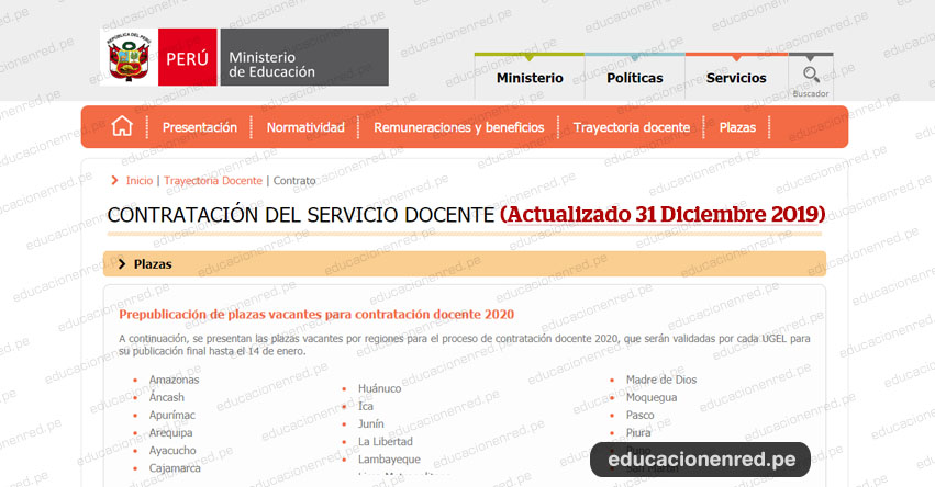 MINEDU: Prepublicación de Plazas Vacantes para Contratación Docente 2020 (Actualizado 31 Diciembre) www.minedu.gob.pe