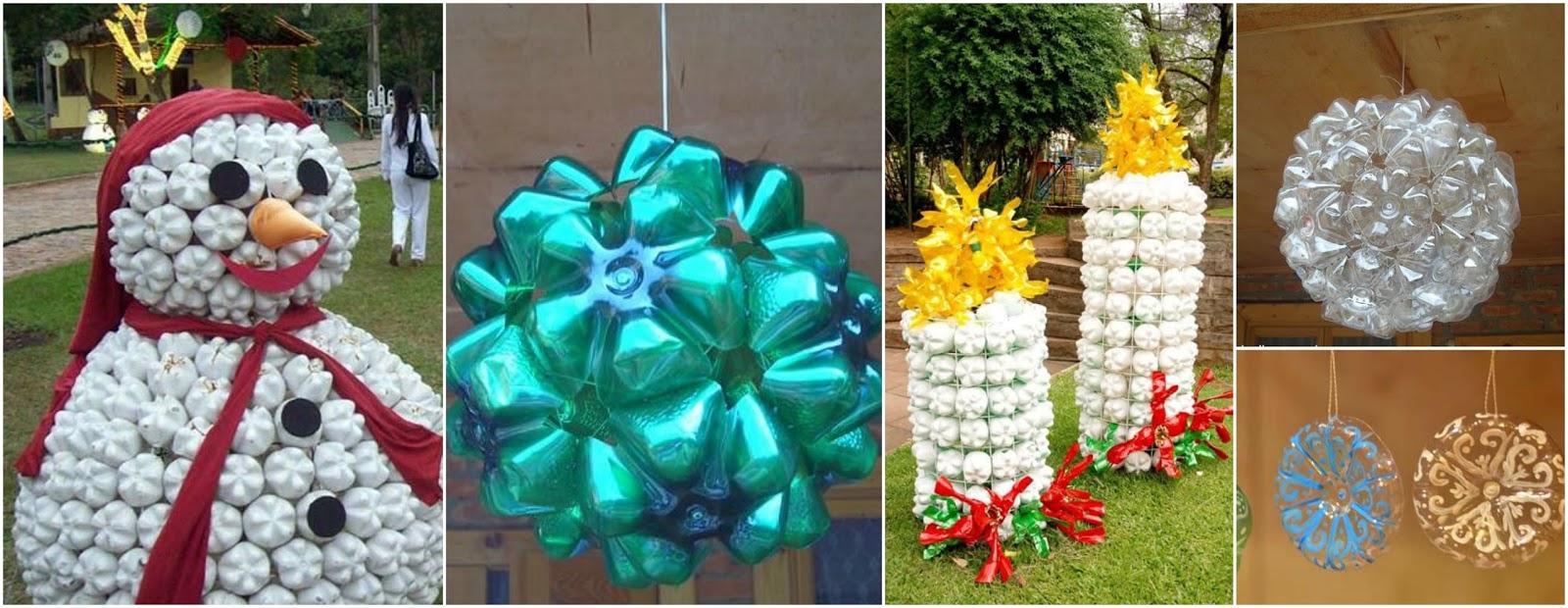 Haz 9 adornos navide os gigantes reciclando botellas de for Adornos navidenos sencillos