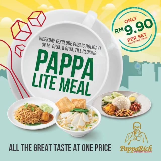 Don't miss this, the Pappa Lite Meal promo at all PappaRich outlets in Malaysia
