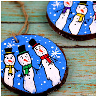 Snowman Wood Slice Ornaments