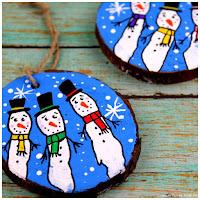 Wood slice Hand Print Snowmen