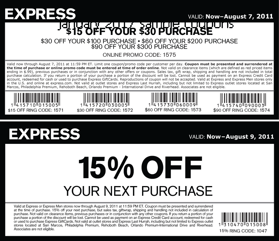 Express has pretty regular promo codes up on their website, offering anything from 15 to 40% off certain departments, as well as spend and save codes, like $25 off every $ spent. Keep this page bookmarked to find all the current deals in one place.
