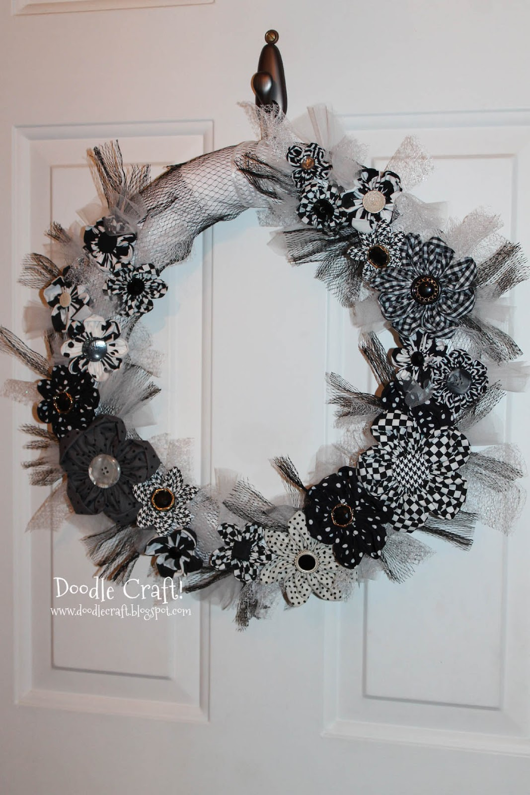 Black And White Fabric Flower Wreath