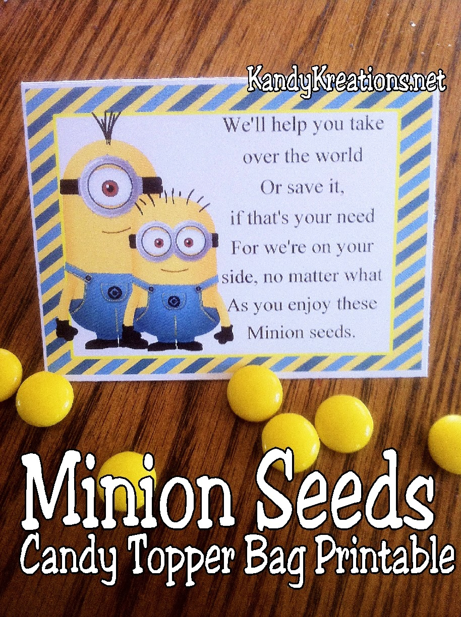 Let the Minions save your day with their love and support using these Minion Seeds as candy bag toppers for your party favors.