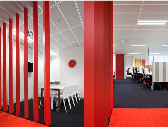 Brand To Make A Statement Critical Visual And Physical Using Slab Of Red Carpet As Way Into The Office Combined With White Walls Ceiling