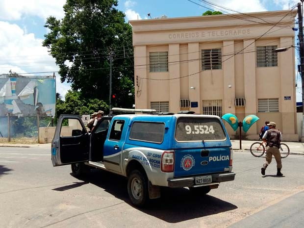 Dupla assalta agência dos Correios na cidade de Ipiaú, no sul da Bahia (Foto: Divulgação/ Giro em Ipiaú)