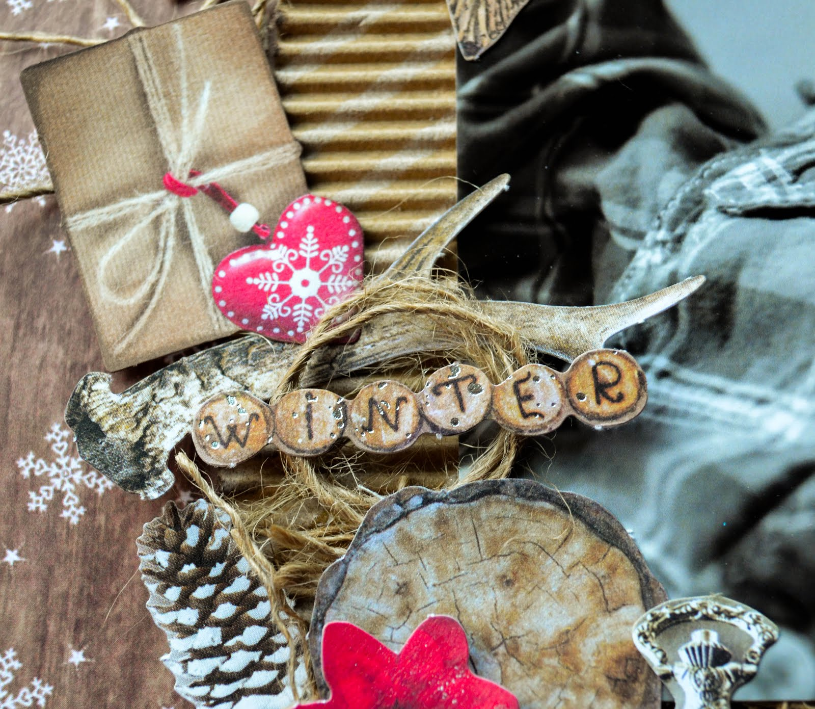 Rustic winter holiday Christmas scrapbook layout on woodgrain background, corrugated cardboard, burlap, jute, plaid print, and snowflakes with die cuts including pinecones, wrapped packages, tags, owl, wood, clock timepiece, birdhouse, flowers, and ice skates
