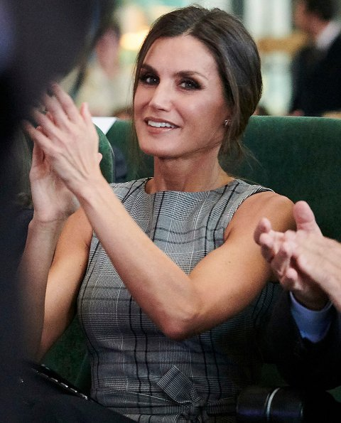Queen Letizia wore a checked top with bow by Zara. Fabrica Scorsese meeting. Princess of Asturias Awards 2018