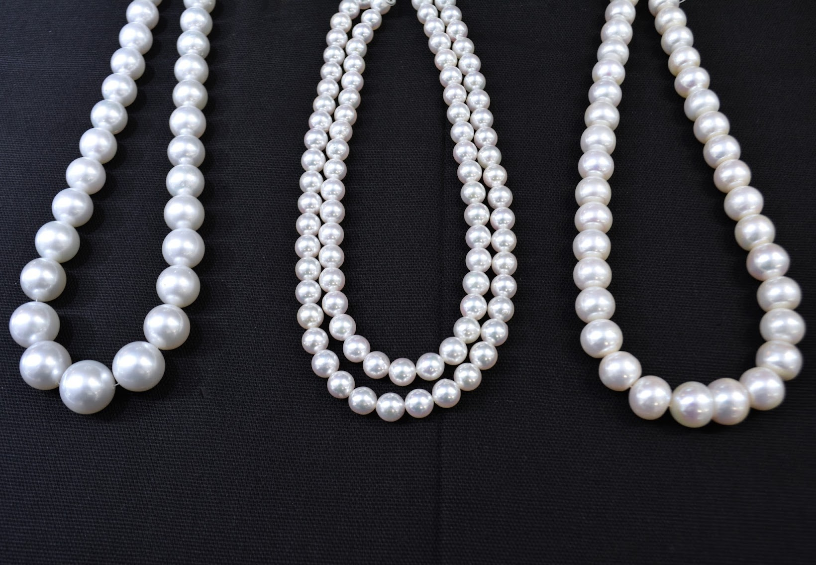 Three strands of pearls from Chicago jewelry store Golden Crown Jewelers