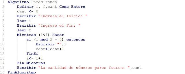 Algoritmo que imprime los números pares entre un rango dado