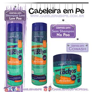 Linha Queridos Cachos Rainha Dos Cachos - Hair Fly (Shampooo Low Poo, Condicionador e Máscara liberadas para No Poo e cowash)