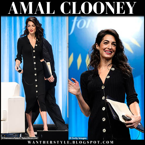 Amal Clooney in black button front midi dress paule ka event conference outfit october 12