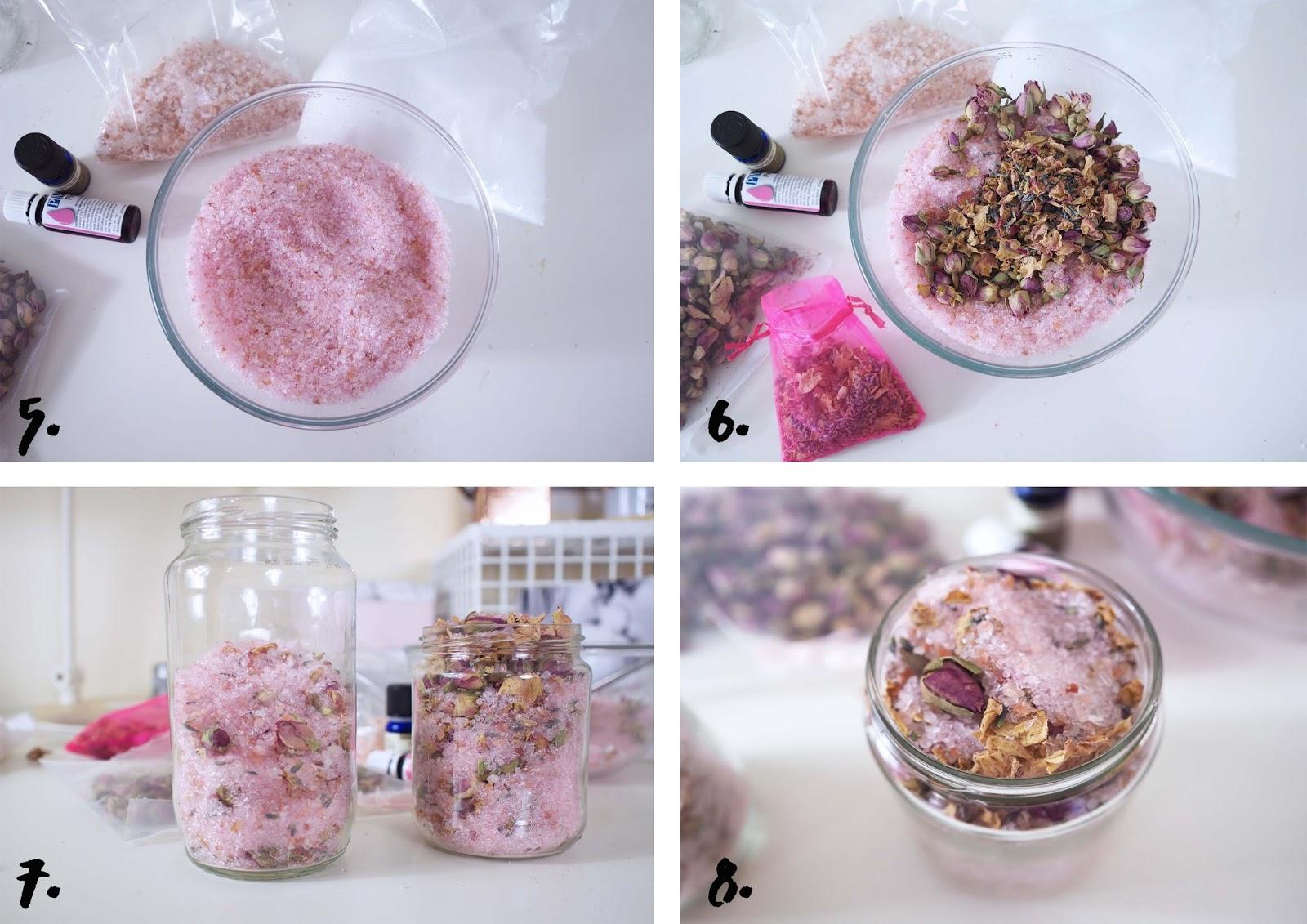 bathroom bath salts with rose and lavender method