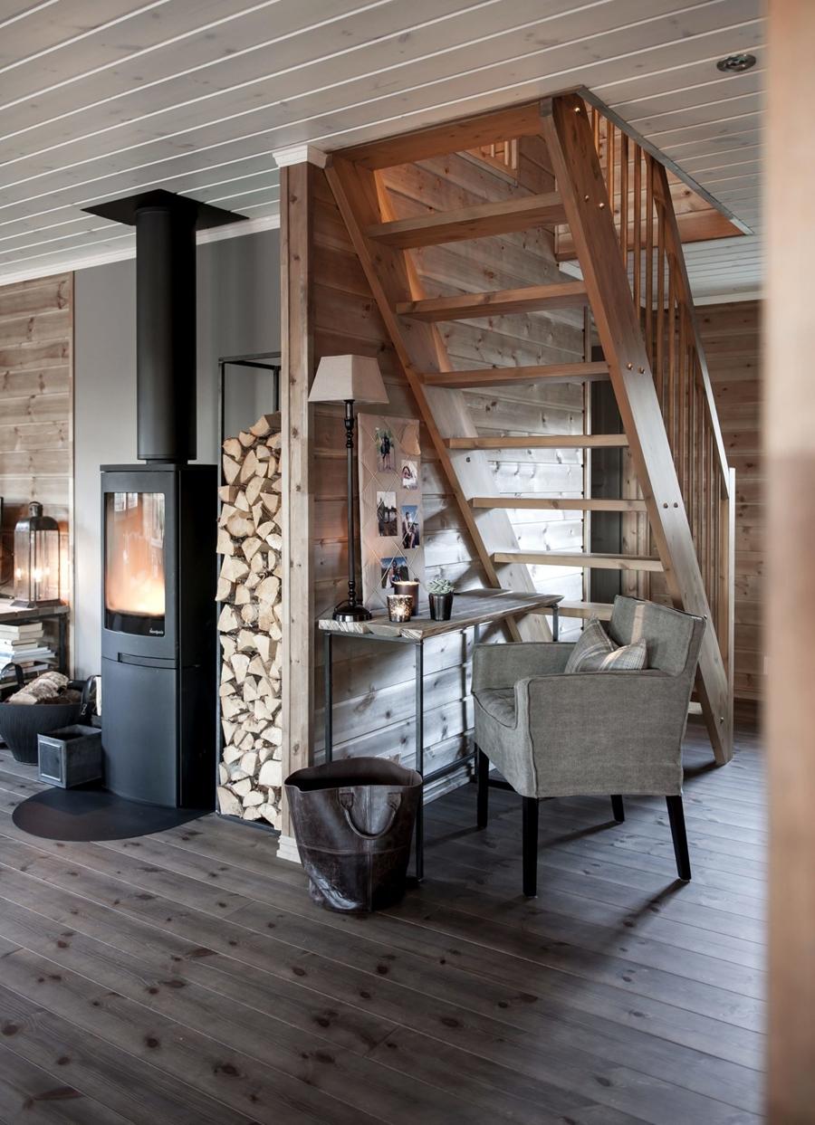 wystrój wnętrz, wnętrza, urządzanie mieszkania, dom, home decor, dekoracje, aranżacje, styl skandynawski, scandinavian style, drewniany domek, drewno, piec, koza