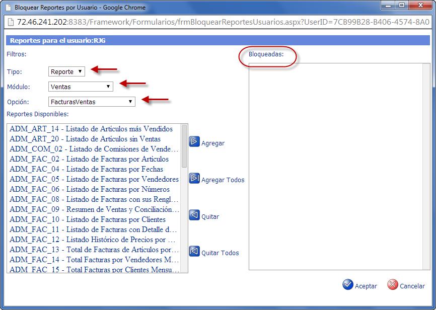 Bloquear Reportes y Formatos por Usuario - Programación de Reportes en eFactory ERP/CRM, Contabilidad, Nómina