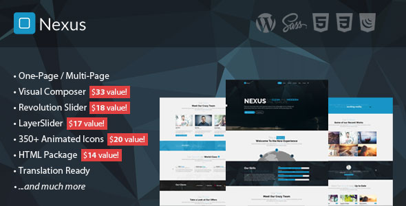 Free Download Nexus V1.8 - Multi/One-Page Business WordPress Theme
