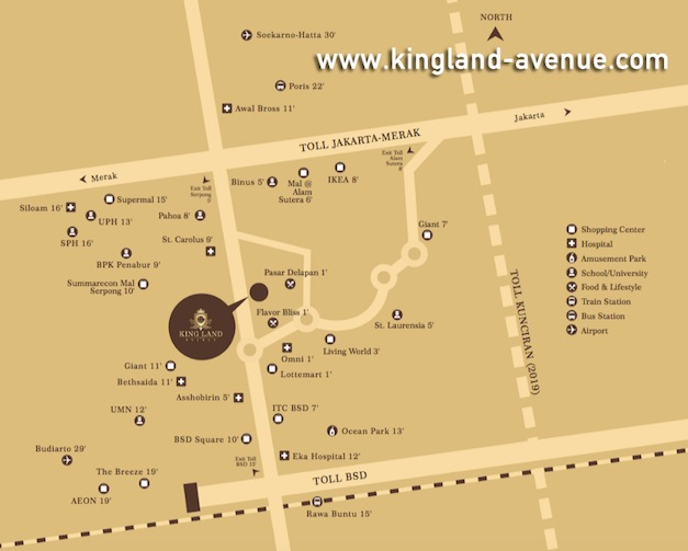 Kingland Avenue Serpong map location
