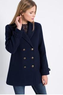 Hilfiger Denim - Palton de firma scurte de dama pentru iarna bleumarin