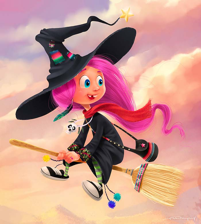 Ilustración, Cartoon witch de Felipe Van Rompaey