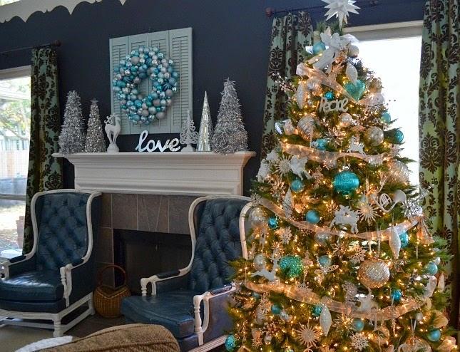 árbol navideño dorado turquesa