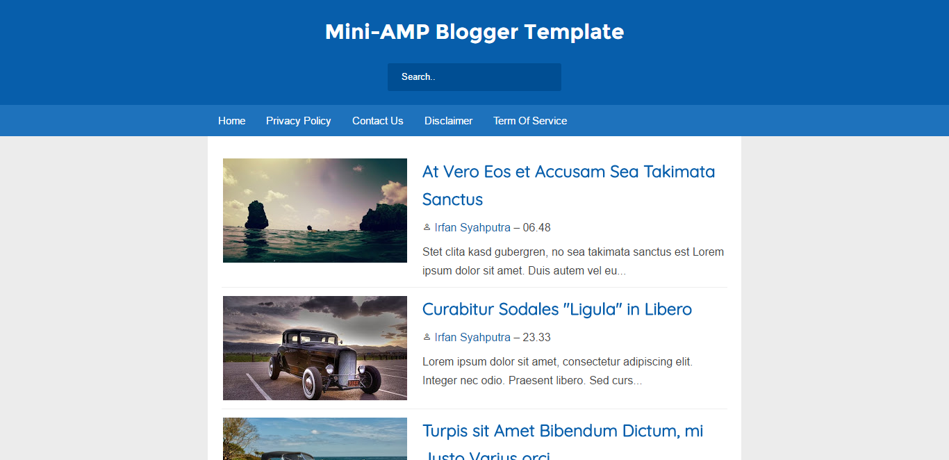 Mini-AMP (Without AMP) Blogger Template