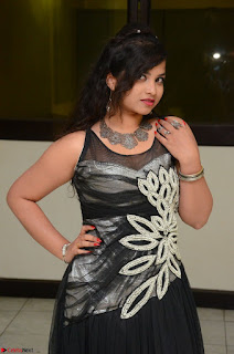 Shrisha Dasari in Sleeveless Short Black Dress At Follow Follow U Audio Launch 080.JPG