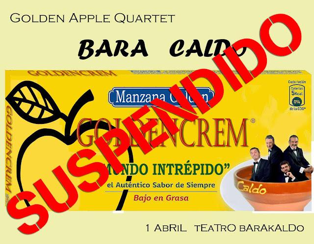 Anuncio de suspensión de la actuación de Golden Apple Quartet