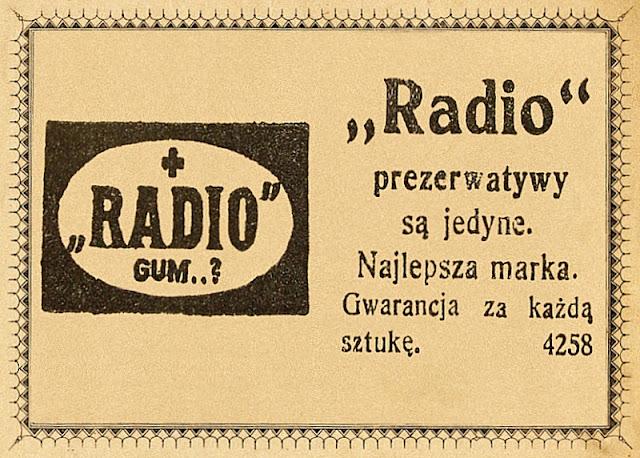 """""""Radio"""" prezerwatywy. Kurier Wileński maj 1927 r. """"Radio"""" condoms."""