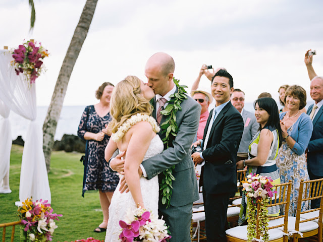 happily married maui wedding couple